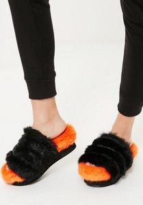 Read more about Orange faux fur flatform sliders orange