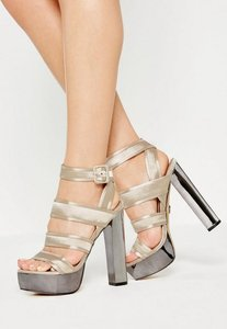 Read more about Beige satin platform heeled sandals brown