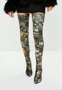 Read more about Khaki leaf printed thigh high pointed shoes green