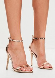 Read more about Rose gold two strap barely there heels pink