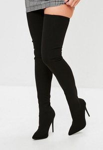 Read more about Black pointed stretch thigh high boots black
