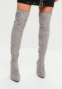 Read more about Grey faux suede pointed over the knee boots grey