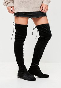 Read more about Black velvet over the knee boots black