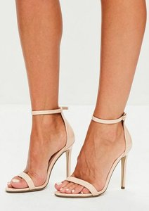 Read more about Nude patent two strap barely there heels beige