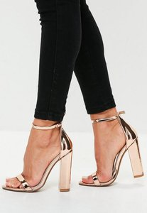 Read more about Rose gold barely there block heels pink