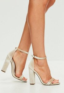 Read more about Cream speckled velvet barely there block heels beige