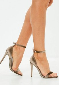 Read more about Brown velvet two strap barely there heels beige