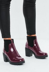 Read more about Burgundy high shine chunky chelsea boots red