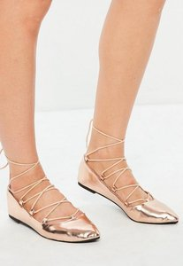 Read more about Rose gold gillie pointed ballerina shoes pink