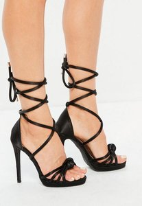 Read more about Black knotted front platform sandals black