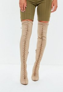 Read more about Nude front lace lycra over the knee boots beige