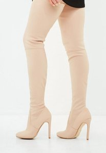 Read more about Nude round toe over the knee heeled boots beige
