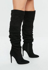 Read more about Black ruched over the knee pointed heeled boots black