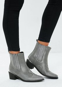 Read more about Grey snake print western heeled ankle boots grey