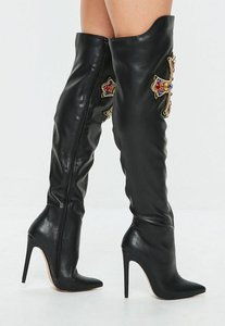 Read more about Black embellished cross detail heeled boots black