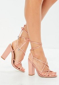 Read more about Pink satin multi strap block heels pink