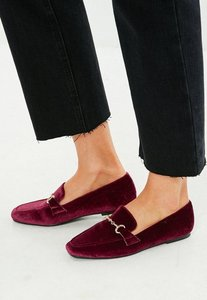 Read more about Burgundy faux suede loafer red