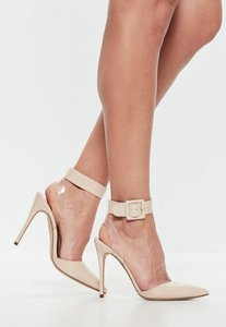 Read more about Nude floating ankle open back court heels beige