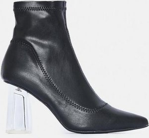 Read more about Black clear heeled pointed sock heeled boots black