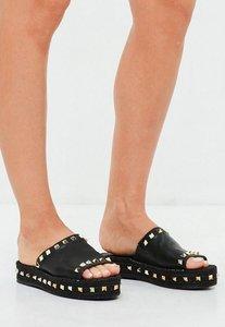 Read more about Black studded flatform espadrille sliders black