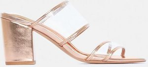 Read more about Rose gold two strap perspex heeled mules pink