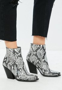 Read more about Grey snake print curved heel western chelsea ankle boots black