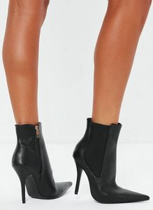 Read more about Black extreme point heeled chelsea boots black