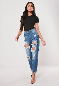 Read more about Blue high rise ripped jeans blue