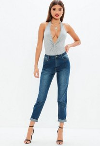 Read more about Blue high rise mom jeans blue