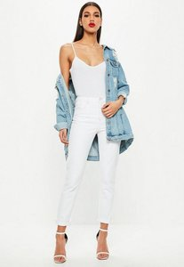 Read more about White high rise pink stitch mom jeans white