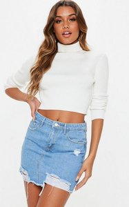 Read more about Light blue ripped a line denim mini skirt blue