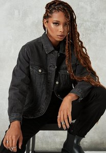 Read more about Washed black oversized denim jacket black
