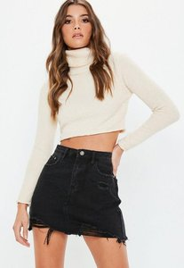 Read more about Black ripped a line denim mini skirt black