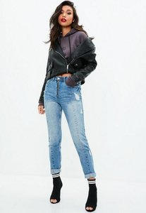 Read more about Blue high rise zip front mom jeans blue
