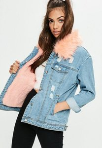 Read more about Blue pink faux fur collar denim jacket blue