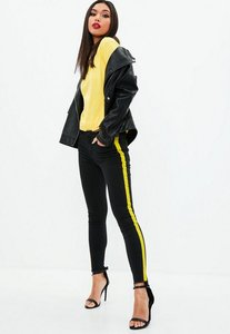 Read more about Black anarchy mid rise skinny side stripe jeans black