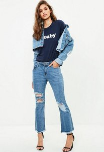 Read more about Blue cropped ripped kick flare jeans blue