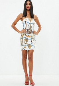Read more about White chain print strapless denim dress white