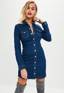 Read more about Blue fitted long sleeve button denim dress blue