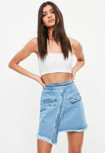 Read more about Blue military tux style denim mini skirt blue