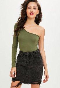Read more about Black washed shadow pocket denim skirt black