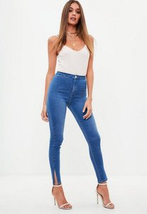 Read more about Blue high waisted skinny split hem denim jeans blue