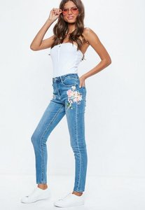 Read more about Blue denim high waist floral printed skinny jeans blue