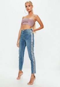 Read more about Blue demim high rise satin panel mom jeans blue