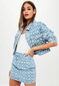Read more about Premium blue printed denim jacket blue