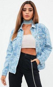 Read more about Blue oversized bandana printed denim jacket blue