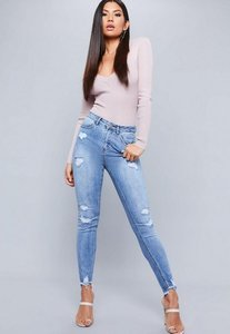 Read more about Blue high waisted stepped shadow pocket skinny jeans blue