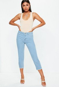 Read more about Blue denim mid rise cropped flared jeans blue
