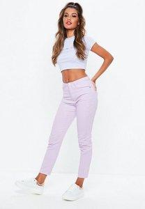 Read more about Purple high rise acid wash denim mom jeans purple