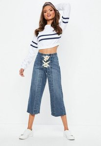 Read more about Blue high waist lace up front cropped wide leg jeans blue